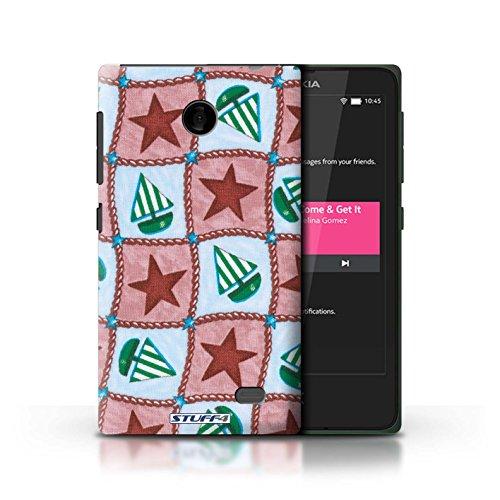 Kobalt® Imprimé Etui / Coque pour Nokia X / Turquoise/Orange conception / Série Bateaux étoiles Rouge/Vert