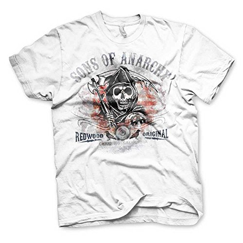 Sons Of Anarchy - Distressed Flag heren unisex T-shirt wit - Televisie merchandise - Ringspun Distressed T-shirt