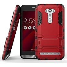 Zenfone 2 Laser (ZE601KL) Funda, SATURCASE Híbrido 2 en 1 [PC & Silicona] Doble Capa Bumper Protector Funda Carcasa Case con Apoyo Para Asus Zenfone 2 Laser ZE601KL 6.0 inch Red