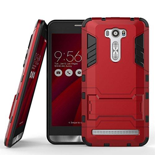 SATURCASE Asus Zenfone 2 Laser (ZE601KL) Hülle, Hybrid 2 In 1 [PC und Silikon] Dual-Layer Stoßstange Tasche Hülle Schutzhülle Handycover mit Kippständer für Asus Zenfone 2 Laser ZE601KL 6.0 inch Rot
