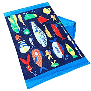 ANGTUO Bath Towel for Kid, 100% Cotton Hooded Bath Robe Towel Cloak Beach Swimming Towel for Boys and Girls