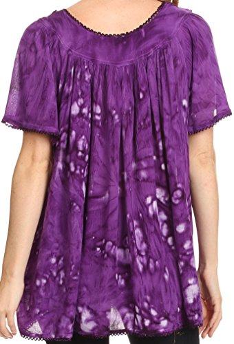 Sakkas Laylah lange, breite kurze Hülsen-Stickerei-Spitze Paillette Bluse Shirt Tunika-Ober Lila