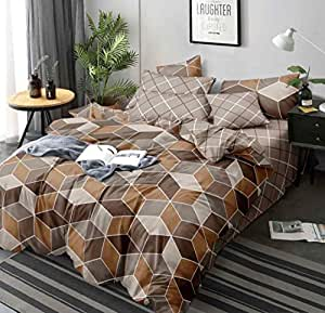 Magnetic Shadow Glace Cotton Single Duvet Cover Quilt Cover/Dohar 60 x 90 inches (Brown Geometric)
