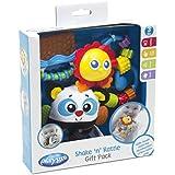 Playgro 0183521 - Pack de mordedor y sonajero, diseño panda, color azul