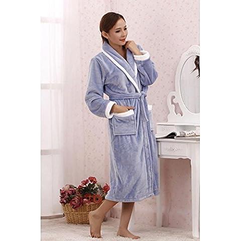 Sleeping accappatoi veste peluche lunga - maniche servizio casa calda Peluche Scialle Robe molle eccellente , blue , m