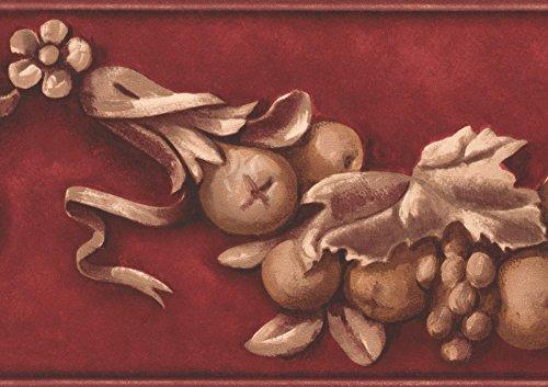 York Wallcoverings Retro-Beige Früchte auf Rebe Granat Rot Wallpaper Border Farbe standardmäßig Rollen 15' x 7''