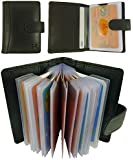 Quality Soft Black Leather Credit Card Holder with Plastic Card Sleeves/Slots
