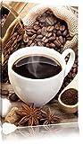 Edler Kaffee und Kaffebohnen , Format: 70x100 auf hochkantiges Leinwand, XXL riesige Bilder fertig gerahmt mit Keilrahmen, Kunstdruck auf Wandbild mit Rahmen, günstiger als Gemälde oder Ölbild, kein Poster oder Plakat