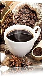 Edler Kaffee und Kaffebohnen , Format: 40x60 auf hochkantiges Leinwand, XXL riesige Bilder fertig gerahmt mit Keilrahmen, Kunstdruck auf Wandbild mit Rahmen, günstiger als Gemälde oder Ölbild, kein Poster oder Plakat