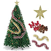 SINCHER Artificial Christmas Tree, 7ft Eco-friendly, 1600 Branches Premium Xmas Tree, Free Pinecones, Red Beans, Christmas Tree Topper Star, Gold Red Ribbon, asy to Assemble with Foldable Metal Stand