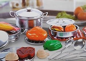 Allkindathings - Juego de sartenes y Accesorios de Cocina de Acero Inoxidable, 23 Piezas, para niños