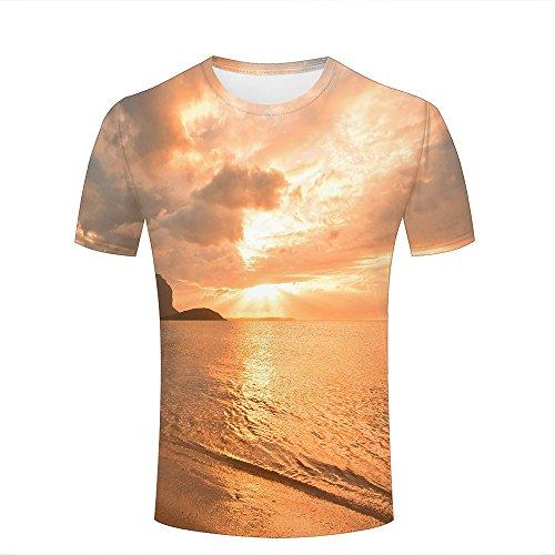 Men T-Shirt 3D Digital Pinted Deserted Seaside Sun Shine Crewneck Casual Tee Shirt Tops B