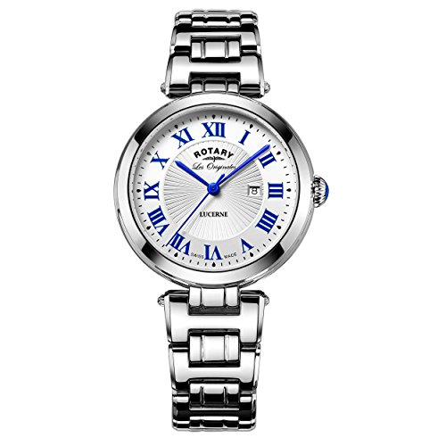 Rotary Women's Quartz Watch with White Dial Analogue Display and Silver Stainless Steel Bracelet LB90186/01/L