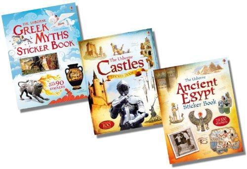 Usborne Information Sticker Book Collection - 3 Books RRP £20.97 (Greek Myths Sticker Book; Ancient Egypt Sticker Book; Castles Sticker Book)