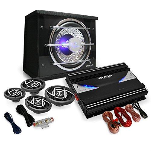 Auna 4.1 Car Hifi Set - Auto-Lautsprecherset-Set Black Line 540 Endstufe Verstärker 16cm Boxen Subwoofer inkl. Kabelset
