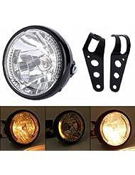 Yosoo Phare Lampe Moto universel 7in avant LED lumière Jaune avec Support accessoire pour Motocycle VTT Vélo