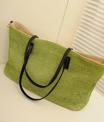 GUMO-Spiaggia sacchetti, sacchi di paglia, tessuti sacchi, borse a tracolla, vacanze borsa borsa a mano,bianco Green