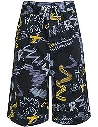 37f8922db3c4e Big Boys Kids Long Knee Length Swim Shorts Swim Trunks Children Surf Board  Wear Mesh Lined Blue Black White Printed Size XXS - L 9…