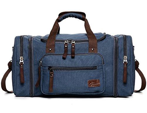Fresion Unisex Canvas Reisetasche Tote Handtasche Männer Weekender Umhängetasche Freizeittasche Handgepäck für Frauen & Männer mit 44L (Blau) (Tote Canvas Weekender)