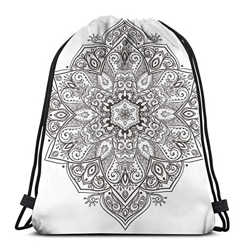Jiger Drawstring Tote Bag Gym Bags Storage Backpack, Asian Psychedelic Circular Element Artistic Lotus Ethnic Eastern Culture Theme,Very Strong Premium Quality Gym Bag for Adults & Children