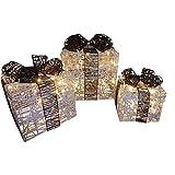 Accendere Luccichio Argento Nero Pacco Natalizio Luci Impostate Con Luci a LED Decorazione A Batteria