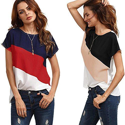 LEvifun Maglietta Donna Manica Corta Blocco di Colore Chiffon Sciolto Estate T Shirt Cime Camicie Tops Blusa