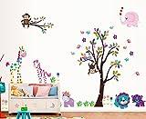 LOOP XXL Wandtattoo mit Tieren Bäumen für Kinderzimmer Wand Sticker Elefant Affe Giraffe Löwe