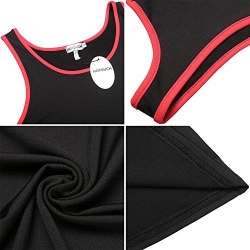 HOTOUCH Damen 3er Pack Tanktop Top T-Shirt Sport Shirt Trägershirt Funktionstop Typ1-Bunt