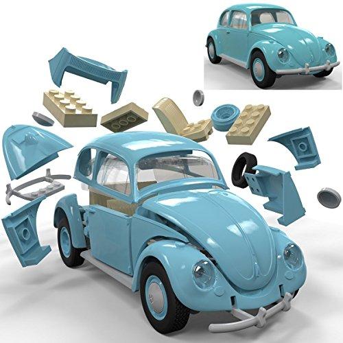 Spielzeug-Auto Volkswagen Beetle aus kompatiblen Bausteinen, 23cm - Kinder Bausatz VW Quick Build Modell Fahrzeug