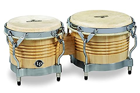 Latin Percussion LP811004 Matador Wood Bongos - Natural/Chrome