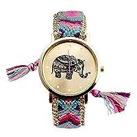 Mixe® Handmade Knitted Jewelry Watch Women Ladies Tribal Elephant Watches Dress Decor (Blue Rose)