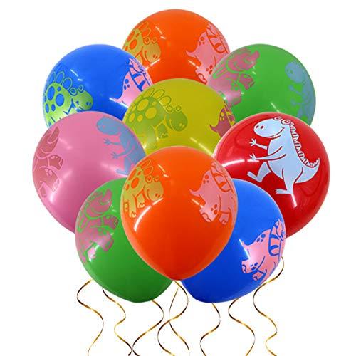 Clerfy Acc 27 Pieza Dinosaurios Decoración de Fiesta de Cumpleaños Globos Unicornio Helio Gigante & Banner de Feliz Cumpleaños con Látex Globos Rose y Cinta Cumpleaños Partido Fuentes para Niña