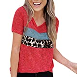 ❤Loveso❤ Damen Kurzarm Bluse Sommer Casual T-Shirt Oberteile Mode Farbblock Patchwork Shirt Tops Frauen Loose Tunika Oberteil