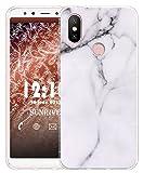 Sunrive Für Xiaomi Mi A2 Hülle Silikon, Transparent Handyhülle Luftkissen Schutzhülle Etui Case für Xiaomi Mi A2 5,99 Zoll(TPU Marmor Weißer)+Gratis Universal Eingabestift