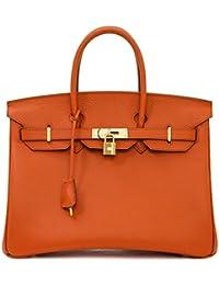 45e75a51f9 Macton borsa a mano classica europea e americana in vera pelle con  lucchetto mc-1329