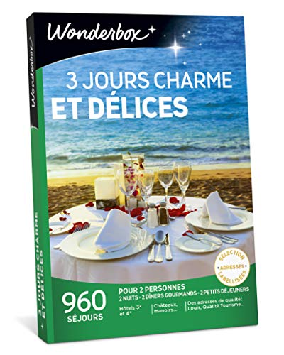 Wonderbox - Coffret cadeau couple - 3 JOURS CHARME ET DÉLICES - 960 Séjours de 2 nuits en Hôtels 3 et 4 étoiles, Châteaux, Manoirs