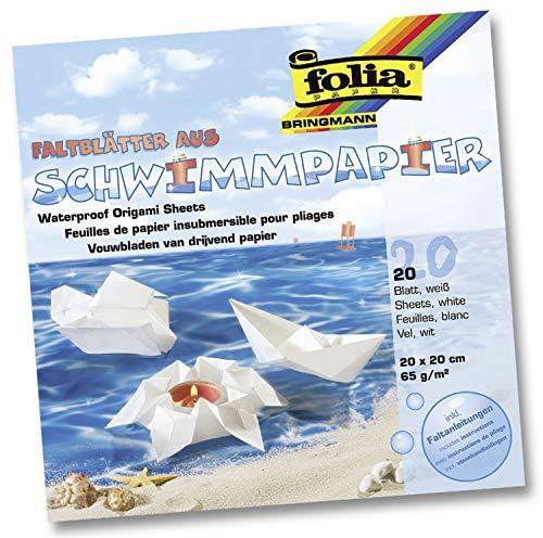 folia 43200 - Faltblätter aus Schwimmpapier, weiß, ca. 20 x 20 cm, 20 Blatt, wasserfestes Faltpapier, bemalbar, inklusive Faltanleitungen -