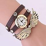 ANLW Damen Wings Armbanduhr Gürtel Uhr Weibliche Diamant Wickel Wickelarmband Tisch Verpackung Um Uhr Quarz Mädchen,Darkbrown