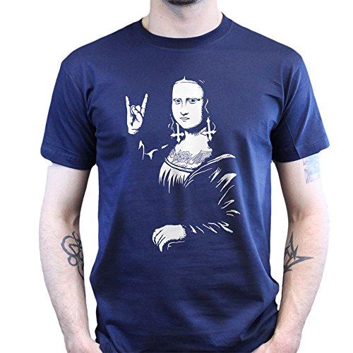 Mona Lisa Da Vinci Rock Chick Metal Music T-shirt Navy Blau