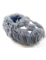 Niños Niñas Infantil novedad Zapatillas Botas de zapato de 3d Fury Monster Face Shark Mono de peluche Pinza para regalo de Navidad Talla UK 9–3