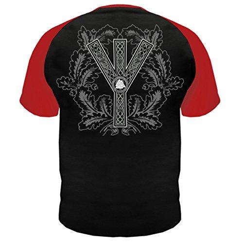 Männer und Herren T-Shirt Berserker Viel Feind Viel Ehr (mit Rückendruck) Schwarz/Rot