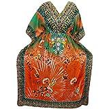 Mogul Interior Womens Kimono Caftan Dresses Orange Printed Boho Kaftan House Dress One Size