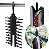 SHAFIRE Tie Rack Hanger Necktie Cross Hanger Closet Tie Organizer Holds 20 Ties Adjustable Criss Cross Design Set of 1