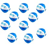 1a-becker 10x Wasserball Strandball Beachball Spiel Ball aufblasbar blau weiß 25cm groß