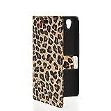 MOONCASE Leopardo Leder Tasche Flip Case Cover Schutzhülle