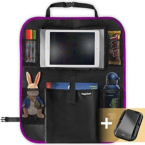 Flappi Duck Premium Rücksitz-Organizer für Kinder | Tablet-Tasche: 27.5cm | Geräumige Rücklehntasche für Reise-Utensilien und Spielzeug | Leicht abwaschbarer Rücklehnenschutz | Rücksitztasche fürs Auto (Rosa)