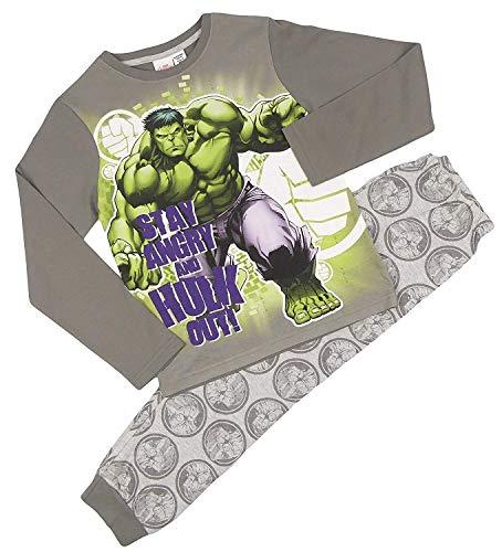 Childrens Character Hulk Schlafanzüge Nachtbekleidung langärmlig mit Manschetten Knöchel Freizeit alter 7-13 Jahre - Mehrfarbig, 134-140