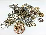 efivs Arts 80pcs con colgante de engranajes de ruedas Esqueleto Reloj Steampunk Engranajes Cog Charms, varios colores para DIY Manualidades, joyas, Steampunk Charms