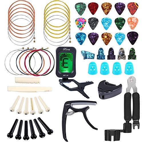 Bosunny 60 PCS Kit de Accesorios de Guitarra que Incluye Púas Para Guitarra,Capo,Afinador,Cuerdas para Guitarra Acústica,3 en 1 Cuerda de Cuerda,Pasadores de Puente,Protector de Dedos