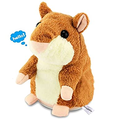APUPPY Cute Mimicry Pet Talking Hamster Repeats What You Say Plush Animal Toy Electronic Hamster Mouse for Children/Toy Gifts Birthday Gifts Christmas Gift,3 x 5.7 inches